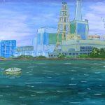 火力発電所:磯子の火力発電所です。四六判半切の風景画デビュー作です。途中から雨が降ってきて、その跡がところどころに残っています。