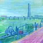 鶴見川:横浜の鶴見川で描きました。遠くに見えるのは火力発電所の煙突です。