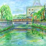 真夏の佐原:千葉の佐原で描きました。ここには古い町並みが残されています。真夏に日向で描いたので、死ぬほど暑かったです…。