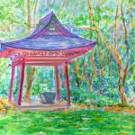 鹿島神宮:茨城の鹿島神宮で描いた絵です。ここは穴場的な場所で、観光客は少なかったです。足元は一面、緑の苔に覆われていました。