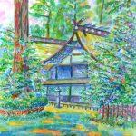 香取神宮:千葉の香取神宮で描きました。ここからは拝殿が少しだけ見えます。