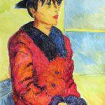 赤いコート:コートと帽子がお洒落!オイルパステルと透明水彩を併用しています。