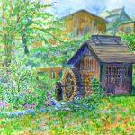 白馬の水車小屋:長野の白馬で描いた絵です。夏の真っ盛りでしたが、水はひんやりとして気持ち良かったです。