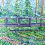 姫川源流:長野の白馬で描きました。水は透明度が高く、冷たかったです。水面下には、バイカモの草がたゆたっていました。