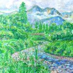 大出の吊り橋:長野の白馬で描きました。この川には吊り橋が架かっており、その向こうには北アルプスの山々が見えます。