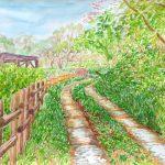 春の小道:地元の自然公園です。この道を行けば、どこにたどり着けるのだろう…という気持ちで描きました。