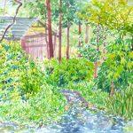 水車へと続く道:地元の自然公園で描きました。この奥には水車小屋があります。