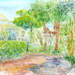 サムエル・コッキング苑:江ノ島の庭園で描きました。ここは観光客やカップルが多く、描いていて気恥ずかしかったですね。