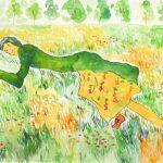 草むらの中で:ごろんっ。