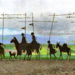 風と星の道:スペインの巡礼路の写真を基に描きました。ペルドン峠という場所で、ここには鉄の板でできた巡礼者の像があります。