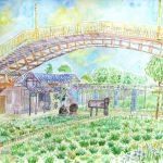 水郷潮来あやめ園:茨城の潮来(いたこ)で描きました。ここにはアヤメが植えられていますが、まだ時期が早くて花は咲いていませんでしたね。