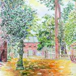 鹿島神宮の参道:茨城の鹿島神宮で描きました。この参道には、樹齢が何百年という大きな杉の木が何本も立っています。