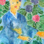 あじさい:6月に描きました。水色の和服が素敵。
