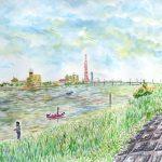 北利根川:茨城の北利根川です。風と日差しが強かったので、橋の下で描きました。