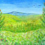 遠い山並み:知人に依頼されて描きました。手前にあるのは西洋の松とヒースの花です。