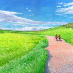 二人連れ:スペインの巡礼路での光景です。 風が吹くと畑の麦がなびいて、縞模様を作っていました。