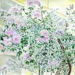 セツの庭のバラ:セツの庭のバラを描きました。こんなところもお洒落ですね。