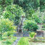 初夏の鎮守の森:地元の神社の参道で描きました。この時期は一段と緑が濃くなります。