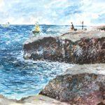 江ノ島の釣り人たち:江ノ島で描いた絵です。釣り人たちがいました。途中で潮が満ちて待避したため、残りは想像で描いています。