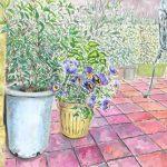 セツの庭に咲くビオラ:セツの中庭で描きました。ここはたくさんの花が咲いているので、お気に入りの場所です。