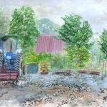 ライダーハウス丘:美瑛でお世話になったライダーハウス(宿)の敷地です。この日はずっと雨が降っていたので、ガレージの軒下で描きました。