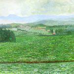 北西の丘:美瑛で描いた絵です。ここから一面のソバ畑が見えました。