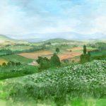 三愛の丘:美瑛の三愛の丘で描いた絵です。途中で雷が鳴り出したので、手前の部分は大急ぎで仕上げました。