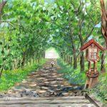 厳島神社の参道:釧路で描いた絵です。ここには広島から分社された厳島神社があります。参道の木漏れ日が気持ち良かったです。