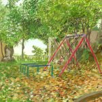 幣舞公園:釧路の幣舞(ぬさまい)公園で描いた絵です。途中で女の子がやってきてブランコをこぎ始めたため、その場面を絵に加えました。