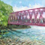 支笏湖:北海道の支笏湖で描きました。ここには昔、鉄道で使われた鉄橋が架かっています。水は非常に透明度が高く、橋の上から湖の中の魚が見えました。