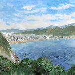 逗子の海:逗子の大崎公園で描きました。ここは見晴らしが良く、逗子の海が一望できました。