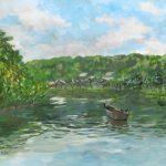 三渓園の大池:横浜の三渓園で描きました。正門を入ると大きな池があり、小舟が浮かんでいます。その上に、一羽の鵜が止まっていました。