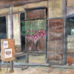 赤とうがらし:地元の自然公園で描きました。軒下には、赤とうがらしが吊されていました。