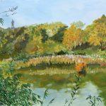 水面に映る:地元の自然公園で描きました。水面が良い感じに描けたと思います。