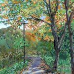 秋の木漏れ日:地元の自然公園で描きました。秋晴れの気持ち良い日でした。