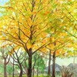 金色のイチョウ:地元の公園で描きました。光を受けて金色に光っていました。