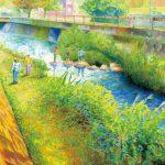 春の川:地元の川です。とにかく細かく描きたかったのです。