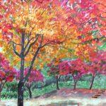 燃えるようなモミジ:地元の自然公園で描きました。紅葉がピークを迎えていて、まるで燃えているようでした。