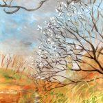 寒空に咲く梅:地元の自然公園で描きました。途中から曇ってきて、寒くて満足に描けませんでした…。