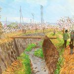 水ぬるむ:小田原の曽我梅林で描いた絵です。ちょうど梅が見頃で、人出が多かったですね。