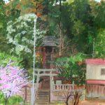 春の鎮守の森:地元の神社の参道で描きました。早咲きの河津桜が咲いていましたよ。