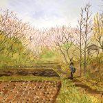 芽吹きを待つ:地元の自然公園で描いた絵です。芽吹きの時期までもうすぐ。