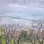 灰色の海:大磯の湘南平(しょうなんだいら)で描きました。 山の上だったので、とても風が冷たかったです。