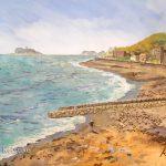 稲村ヶ崎から:湘南の稲村ヶ崎で描きました。遠くに江の島が見えます。