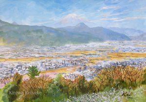 梅の咲く町:小田原の曽我梅林で描きました。ちょうど梅の花が見頃で、富士山も見えましたよ。