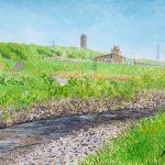 夏の始まり:神奈川を流れる境川(さかいがわ)で描きました。 川沿いはサイクリングロードになっていて、サイクリストの人たちをよく見かけました。
