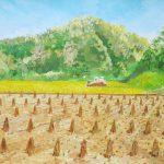 実りの季節:地元の自然公園の近辺で描きました。ここでは農家さんがお米を作っていて、ちょうど収穫が行われていました。手前に見えるのは収穫された稲の束です。