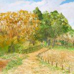 秋色:地元のハイキングコースで描きました。まだ日中は暑く感じる日もありますが、季節はしっかりと先に進んでいるようですね。