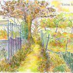 秋の小道:地元のハイキングコースで描きました。