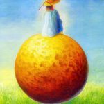 オレンジ:不思議な風景を描こうとしたら、こんな絵になりました。
